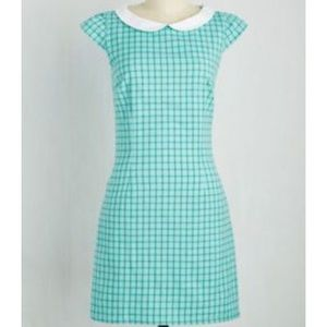 Do You Read Me? Dress in Turquoise Check